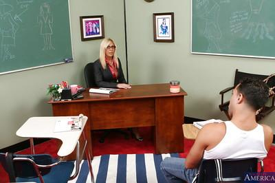 Huge tit blonde teacher Misty sure knows how to suck and fuck a cock