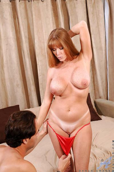 Foxy Darla Crane seduced lusty handsome man and gave him fantastic blowjob right before she got fucked.