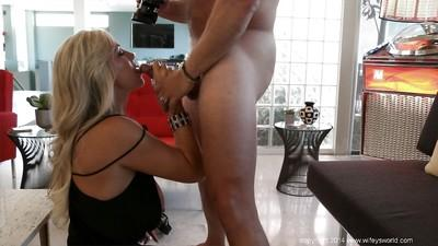 Lucky dude is pleased with blowjob from mature housewife Sandra Otterson