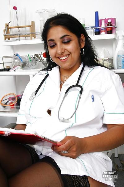 Fat Indian nurse Alice flashing upskirt underwear in hospital