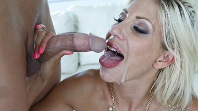 Sensual dick-riding blonde Puma Swede and her horny lover on the bed