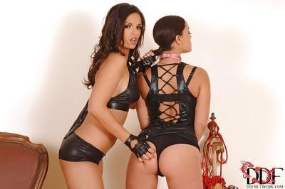 Lesbian pornstar Liza del Sierra slaps sexy cute milf Eve Angel