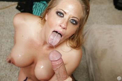 Sweet blonde milf with big tits Holly gives a blowjob and eats a cumshot