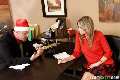 Brave milf Nina Lane getting naughty with her boss and fucking in office