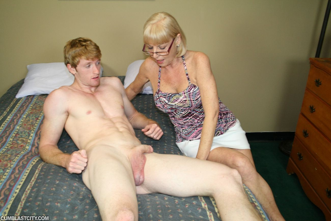 Granny scarlet milking young cock for huge load of jizz