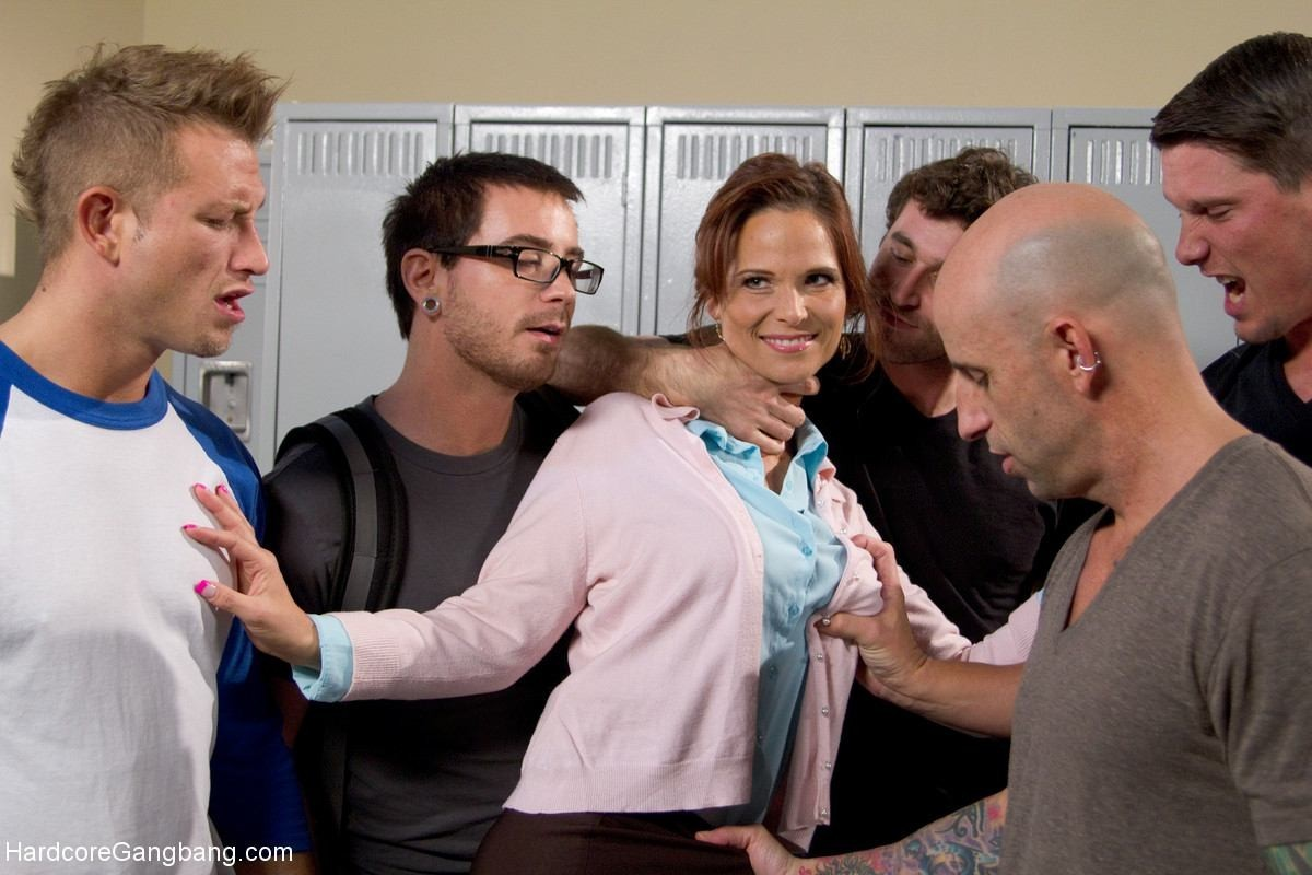 Hot milf teacher with giant tits gangbanged by students