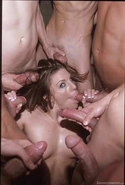 Tanned Jackie Moore was fucked by gang of big dick like in her dreams
