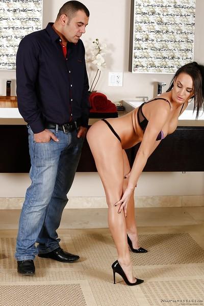 Brunette MILF Alektra Blue soaps up man in shower and jerks his cock