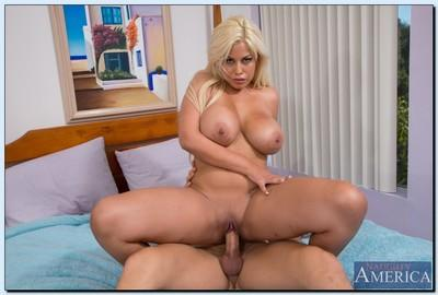 Hot MILF Bridgette B. gives a titjob and gets her bald cunt drilled hardcore