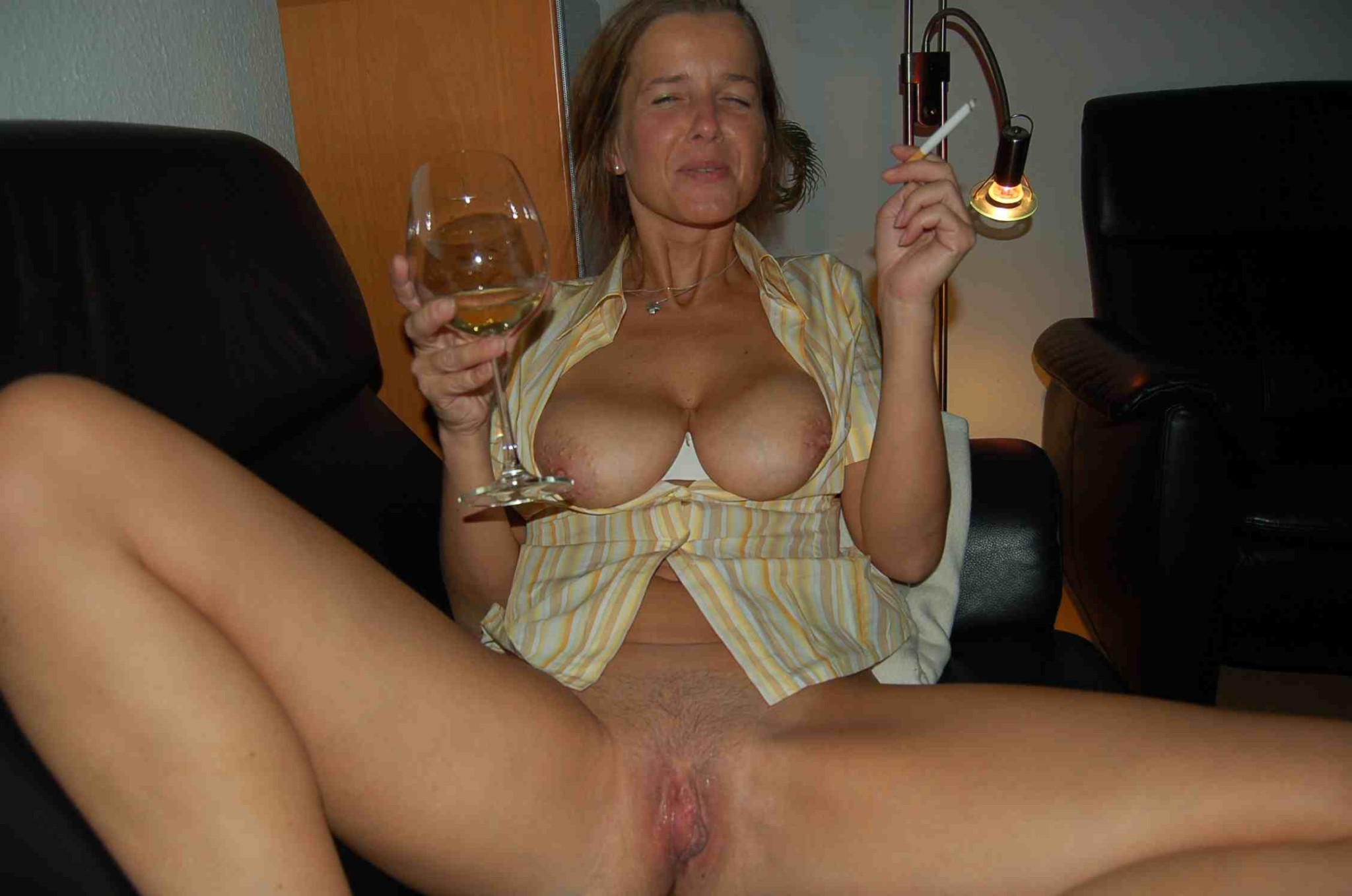 Cougar girlfriends posing and taking cock