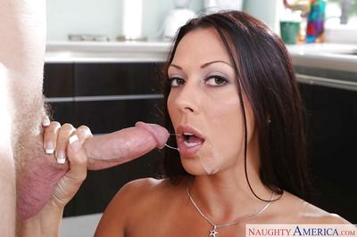 Sexy brunette housewife Rachel Starr taking big penis in slutty mouth