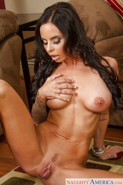 Latina wife Brandy Aniston plays with her big juicy boobies on cam