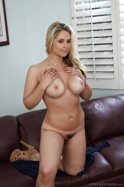 Chesty blonde MILF Sarah Vandella releasing huge knockers from dress