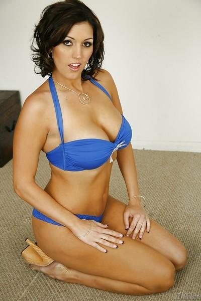 Big tits brunette pornstar Dylan Ryder shows off in her bikini