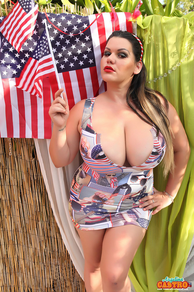 Angelina castro gets red white blue and wet