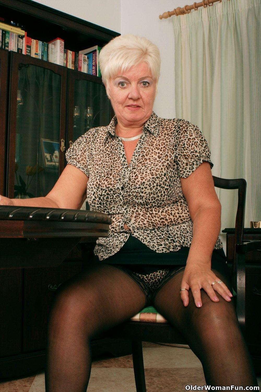 Grandma sandie in black stockings