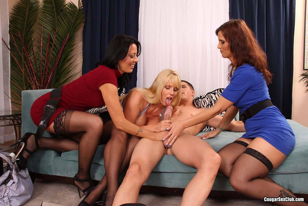 3 horny milfs sharing some cock and cum