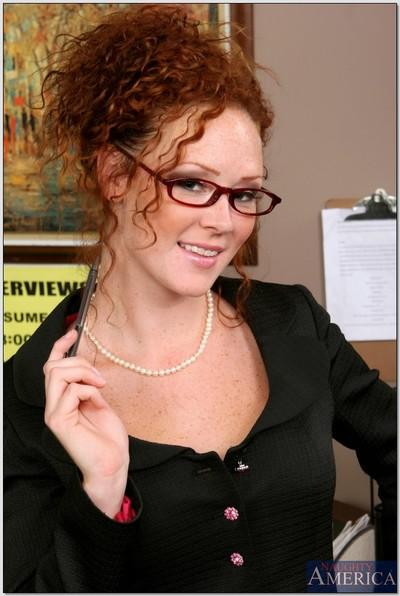 Sexy office redhead Audrey Hollander strips and fondles shaved pink