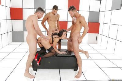Insane gangbang action with dick-swallowing whore milf Adriana Chechik