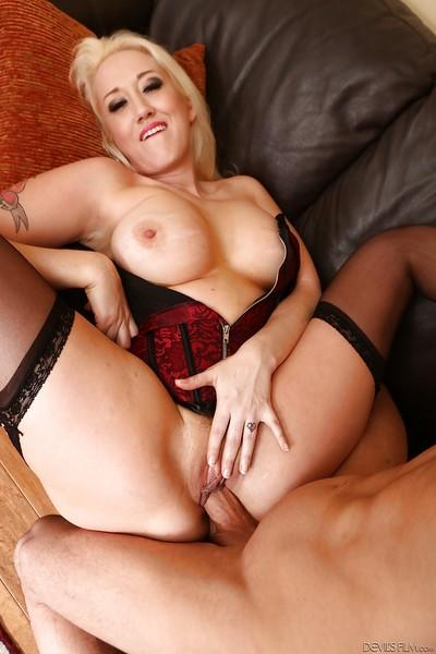Busty blond MILF Alana Evans having going A2M with girlfriend