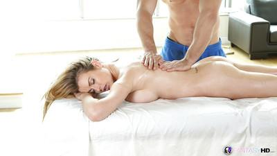 Milf cutie Corrine Blake enjoys massage and a hardcore fuck after