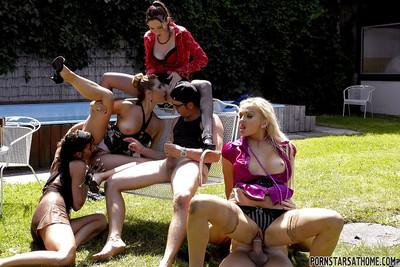 Seductive MILFs gets pissed on and pounded hardcore outdoor