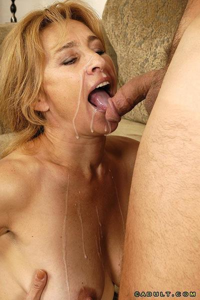 Lewd cougar gets her pussy licked and fucked for cum on her face and rack