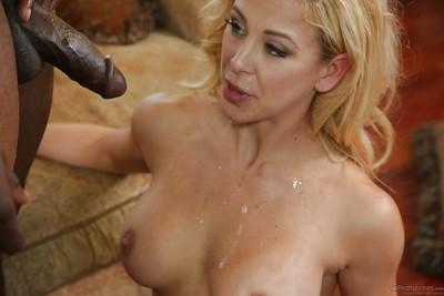 Interracial threesome features milf cowgirl Cherie DeVille