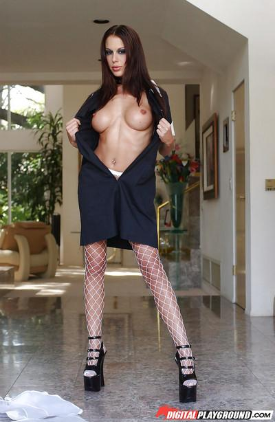 Busty brunette bombshell Mckenzie Lee showing off in her maid outfit