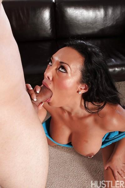 Busty Asian MILF pornstar Rio Lee gives big cock bj with pierced tongue