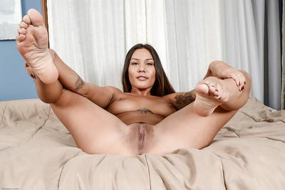 Latina chick Mena stretches her tight hole with hardcore pleasure