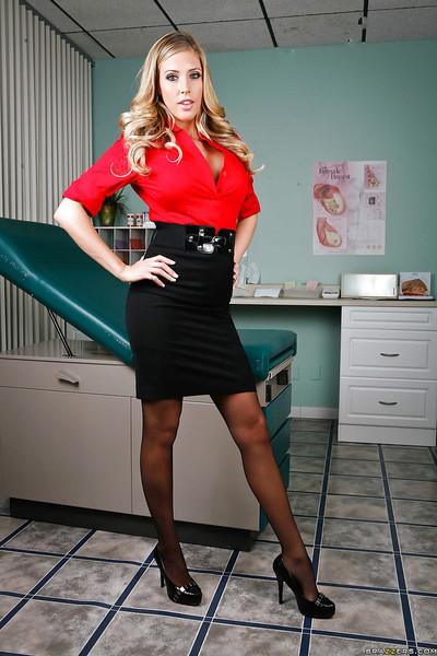 Hot babe in stockings Samantha Saint stripping and spreading her legs