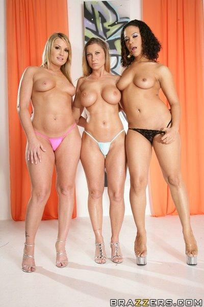 MILF babes Flower Tucci, Devon Lee and Chyanne Jacobs show hot bodies