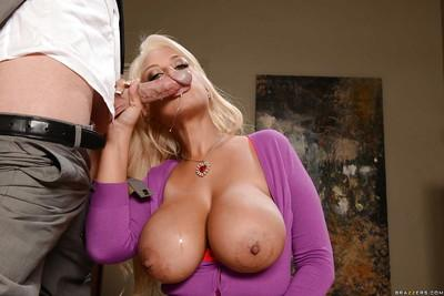 Curvaceous MILF Bridgette B on knees sucking big penis for cum in mouth
