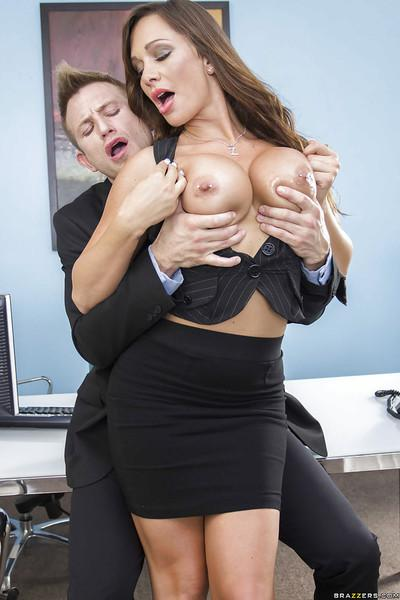 Big tits brunette milf Destiny Dixon dose footjob right in her office