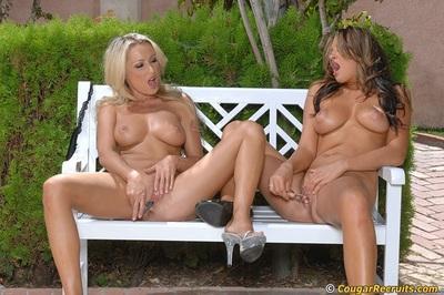 Carmen McCarthy & Diana Doll perform a sizzling lesbian scene outdoor