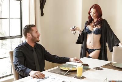 French maid watches tattooed wife deepthroat husband