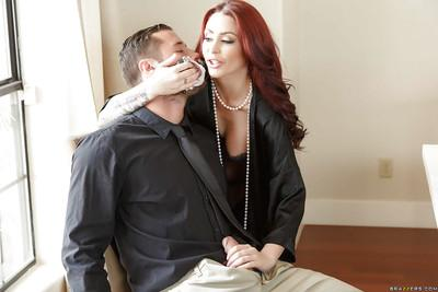 French maid watches tattooed wife deepthroat husband