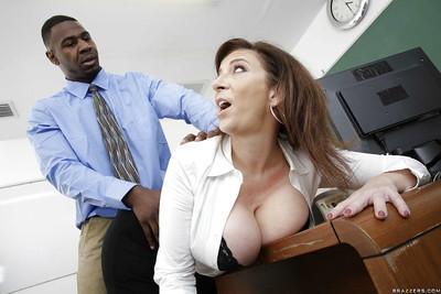 Busty MILF pornstar Sara Jay having interracial sex with schoolteacher