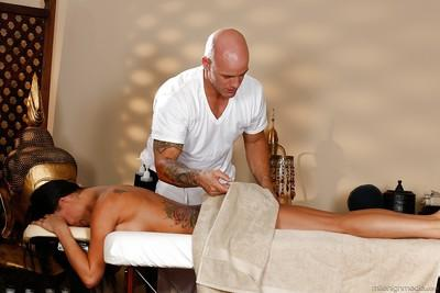 Peta Jensen was fucked hard in her face after sexy oiled massage
