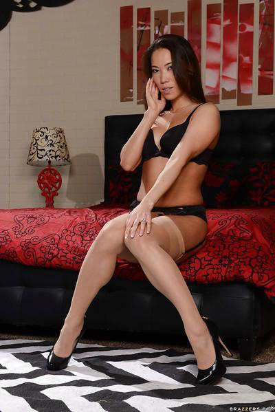 Asian housewife Kalina Ryu poses hot body and ass in pantyhose and garters