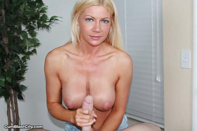 Blonde MILF reveal big natural breasts before jerking off cock
