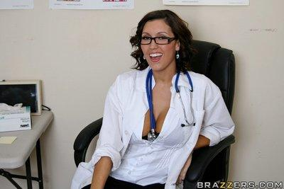 MILF babe in glasses Dylan Ryder takes off lingerie to expose butthole