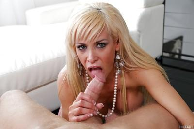 Luxurious blonde milf almost cries from happiness during blowjob