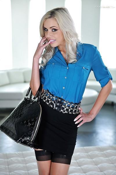 Hot blonde MILF Nina Elle flashing pink upskirt garters and panties