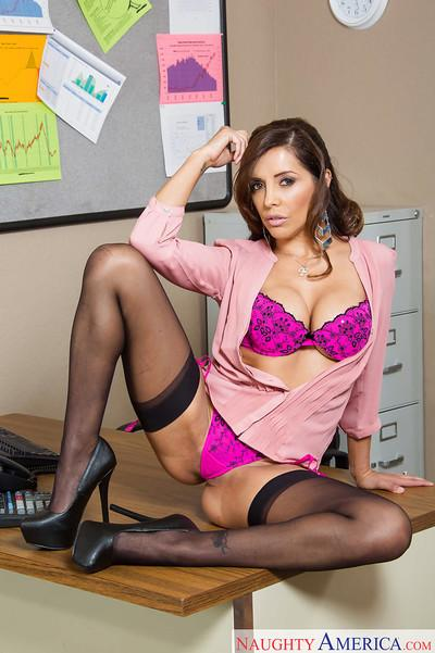 Milf Francesca Le slowly takes off her black skirt in the office