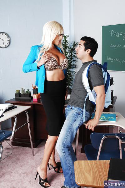 Slutty teacher fucks her student and gets her round jugs glazed with cum