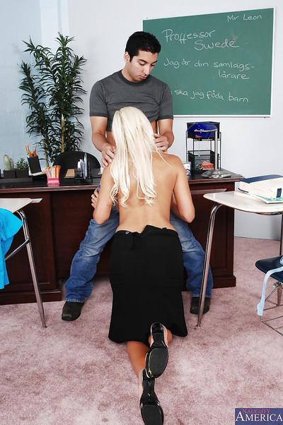 Slutty teacher fucks her student and gets her round jugs glazed with cum