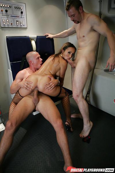 Astonishing Asian milf Katsuni fucks with two big hard cocks