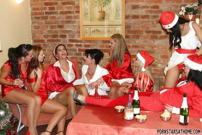 Salacious european pornstars have some pissing fun at the christmas party